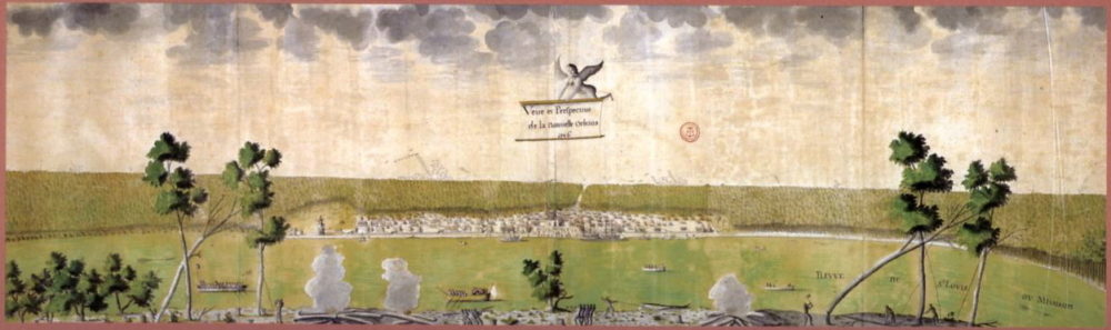 Illustration of early New Orleans. This watercolor paintingdepictsNew Orleans in 1726 when it was an 8-year-old French frontier settlement, nearly forty years prior to the Spanish acquisition of the Louisiana territory. In the foreground, enslaved Africans fell trees on land belonging to the Company of the Indies, and another enslaved man spears a massive alligator. Land has been cleared only just beyond the town limits and a wooden palisade provides meager protection from competing European empires.