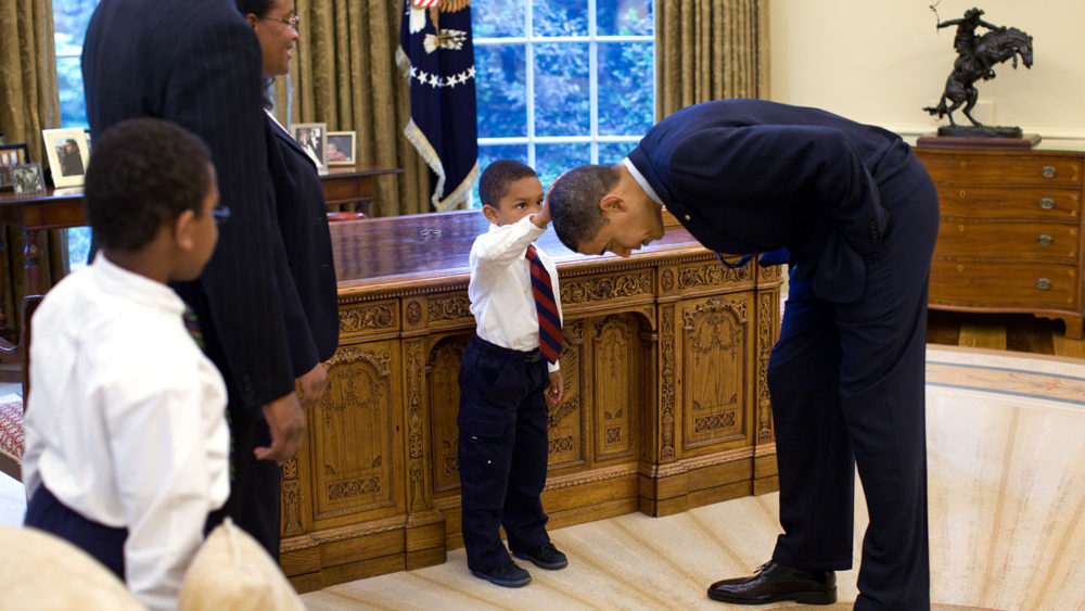"""In 2008, Barack Obama became the first African American elected to the presidency. In this official White House photo from May, 2009, 5-year-old Jacob Philadelphia said, """"I want to know if my hair is just like yours."""""""