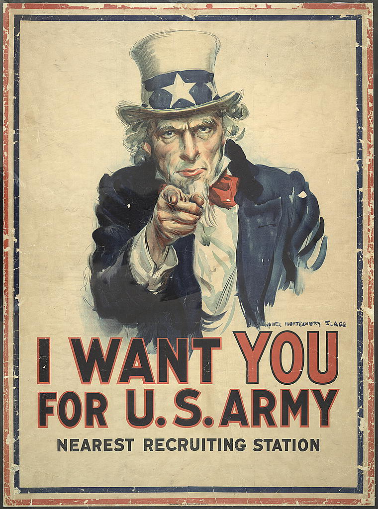 """""""War poster with the famous phrase """"I want you for U. S. Army"""" shows Uncle Sam pointing his finger at the viewer in order to recruit soldiers for the American Army during World War I. The printed phrase """"Nearest recruiting station"""" has a blank space below to add the address for enlisting."""""""