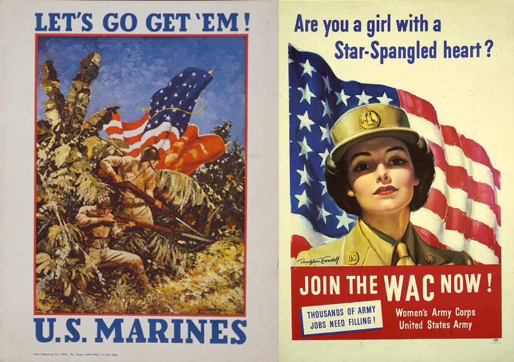 """This pair of US Military recruiting posters demonstrates the way that two branches of the military—the Marines and the Women's Army Corps—borrowed techniques from advertising professionals to """"sell"""" a romantic vision of war to Americans. These two images take different strategies: one shows Marines at war in a lush jungle, reminding viewers that the war was taking place in exotic lands, the other depicted women taking on new jobs as a patriotic duty."""