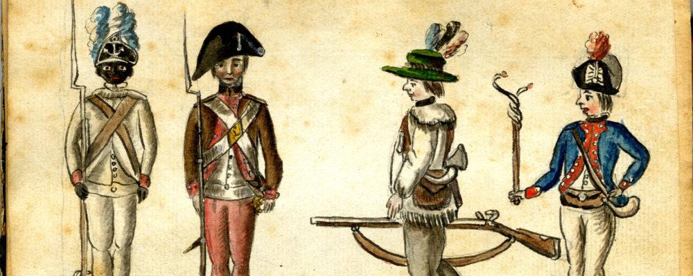 "Jean-Baptiste-Antoine DeVerger, ""American soldiers at the siege of Yorktown,"" 1781, via Wikimedia."