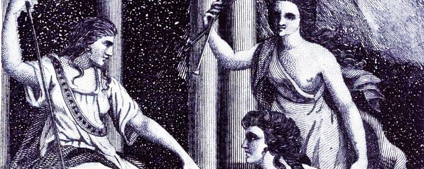 """In this engraving, English writer Mary Wollstonecraft presents her work, """"A Vindication of the Rights of Woman,"""" to Liberty who has the tools of the arts at her feet."""