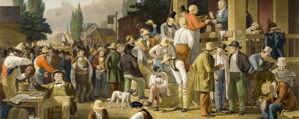 """George Caleb Bingham's painting """"The County Election"""" shows the crowded and chaotic scene of an election. Children play on the floor. A long line of men queue up to vote while others drink, sleep, or conduct business."""