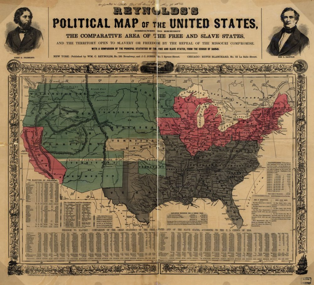 """William C. Reynolds and J. C. Jones, """"Reynolds's political map of the United States, designed to exhibit the comparative area of the free and slave states and the territory open to slavery or freedom by the repeal of the Missouri Compromise,"""" 1856, via Library of Congress."""