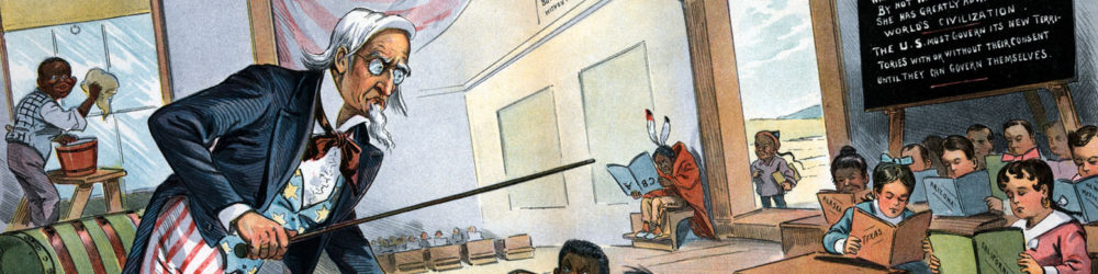 """""""School Begins,"""" Puck, January 25, 1899."""