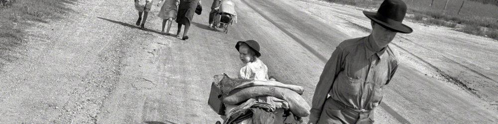 "Dorothea Lange, ""Family walking on highway, five children"" (June 1938) Works Progress Administration, Library of Congress."