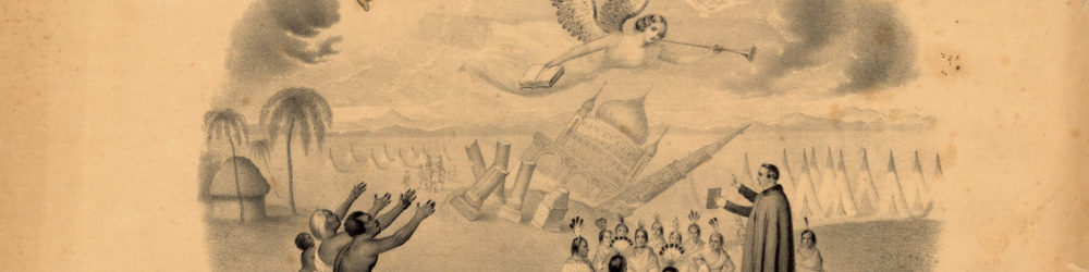 The image on this lifetime membership certificate to a missionary society shows how the new member's money will be used.  The guiding hand of Providence and an angel bearing a book (presumably a Bible) hover at the top of the image.  In the background, a mosque topples over.  An African family kneels and reaches towards the heavens on the left side, while a minister preaches to Native Americans gathered before him on the right.
