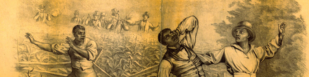 This lithograph imagines the consequences of the Fugitive Slave Act, part of the Compromise of 1850.  Four well-dressed Black men are being hunted by a party of white men, seen in the background.  There are a number of ambiguities in the image – are the Black men enslaved or free?  Are they trying to escape or not?  Where exactly are they?  These ambiguities speak to the concerns many abolitionists had about the law, which required free citizens to return freedom-seeking people to their enslavers.