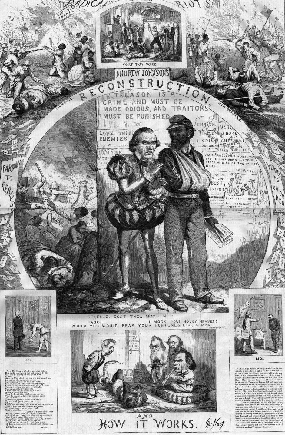 """Thomas Nast, """"Reconstruction and How It Works,"""" Harper's Weekly, 1866, via HarpWeek."""