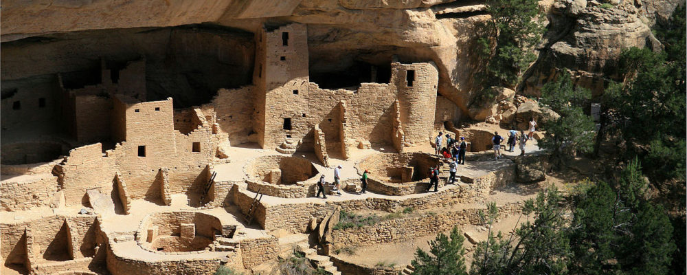 """Photograph of the remains the pueblo known as Cliff Palace. Andreas F. Borchert, """"Mesa Verde National Park Cliff Palace"""" via Wikimedia."""