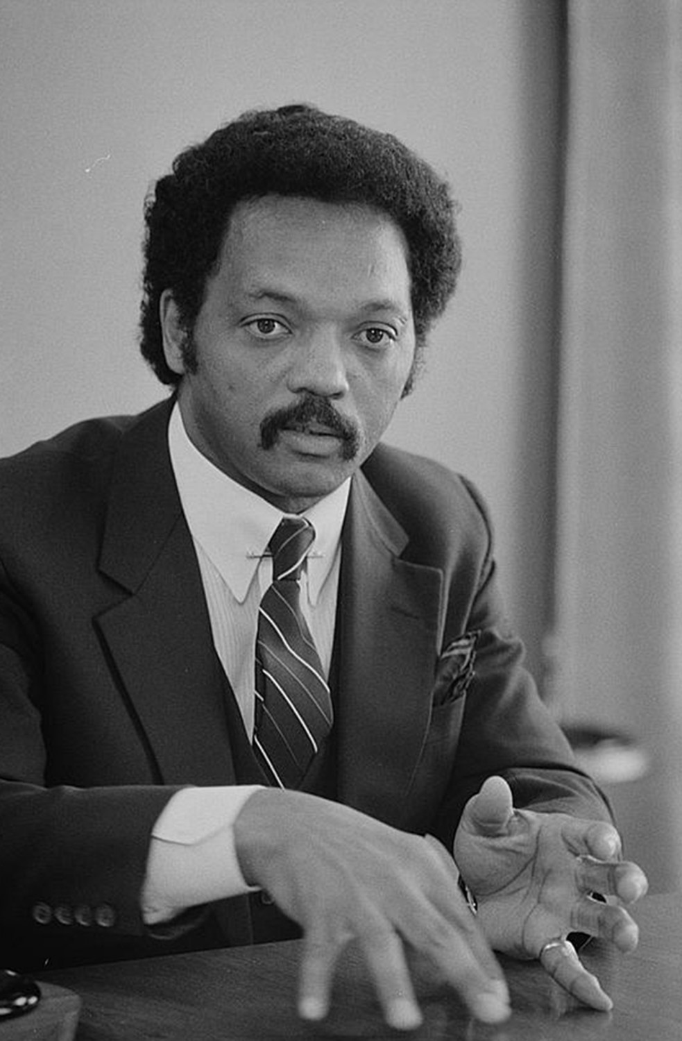 "Jesse Jackson was only the second African American to mount a national campaign for the presidency. His work as a civil rights activist and Baptist minister garnered him a significant following in the African American community, but never enough to secure the Democratic nomination. His Warren K. Leffler, ""IVU w/ [i.e., interview with] Rev. Jesse Jackson,"" July 1, 1983. Library of Congress, http://www.loc.gov/pictures/item/2003688127/."