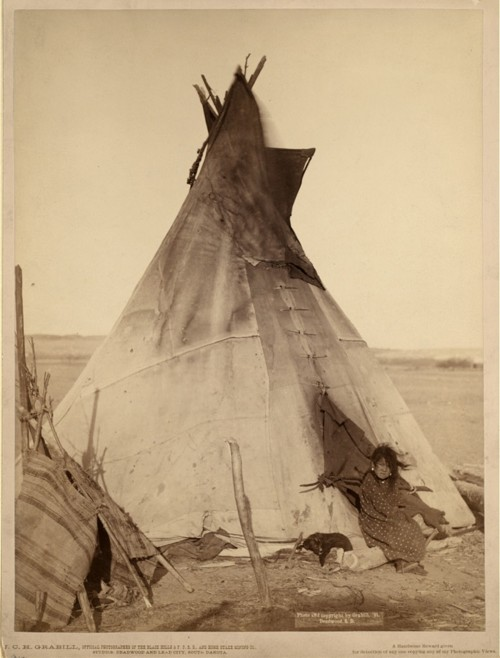 """This photograph, taken only two years after the establishment of South Dakota, shows the dire situation of the Lakota people on what was formerly their own land. John C. Grabill, """"[A young Oglala girl sitting in front of a tipi, with a puppy beside her, probably on or near Pine Ridge Reservation],"""" 1891.  Library of Congress, http://www.loc.gov/pictures/item/99613799/."""