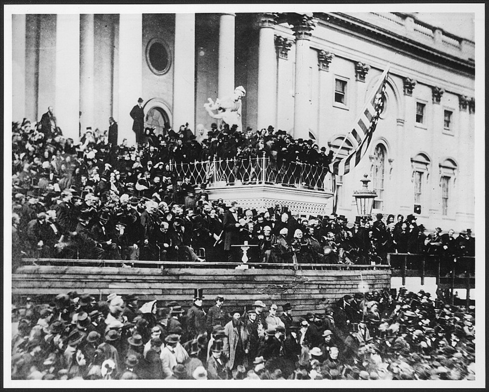 "With crowds of people filling every inch of ground around the U.S. Capitol, President Lincoln delivered his inaugural address on March 4, 1865. Alexander Gardner, ""Lincoln's Second Inaugural,"" between 1910 and 1920 from a photograph taken in 1865. Wikimedia, http://www.loc.gov/pictures/item/00650938/."