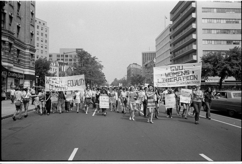 "The women's movement stagnated after gaining the vote in 1920, but by the 1960s it was back in full force. Inspired by the Civil Rights Movement and fed up with gender discrimination, women took to the streets to demand their rights as American citizens. Warren K. Leffler, ""Women's lib[eration] march from Farrugut Sq[uare] to Layfette [i.e., Lafayette] P[ar]k,"" August 26, 1970. Library of Congress, http://www.loc.gov/pictures/item/2003673992/."
