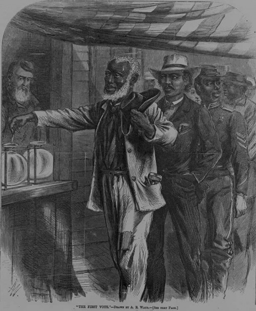 "With the passage of the Fifteenth Amendment, droves of African American men went to the polls to exercise their newly recognized right to vote. In this Harper's Weekly print, black men of various occupations wait patiently for their turn as the first voter submits his ballot. Unlike other contemporary images that depicted African Americans as ignorant, unkempt, and lazy, this print shows these black men as active citizens. Alfred R. Waud, ""The First Vote,"" November 1867.  Library of Congress, http://www.loc.gov/pictures/item/00651117/."