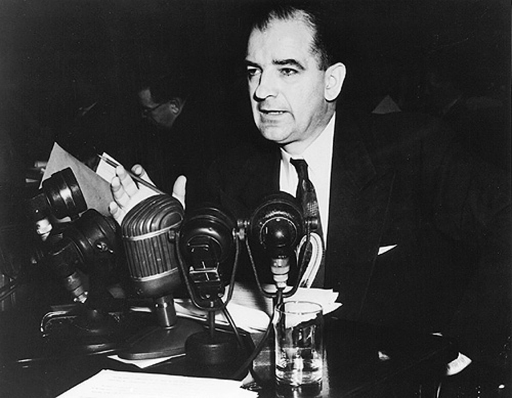 Joseph McCarthy, Republican Senator from Wisconsin, fueled fears during the early 1950s that communism was rampant and growing. This intensified Cold War tensions felt by every segment of society, from government officials to ordinary American citizens. Photograph of Senator Joseph R. McCarthy, March 14, 1950. National Archives and Records Administration, http://research.archives.gov/description/6802721.