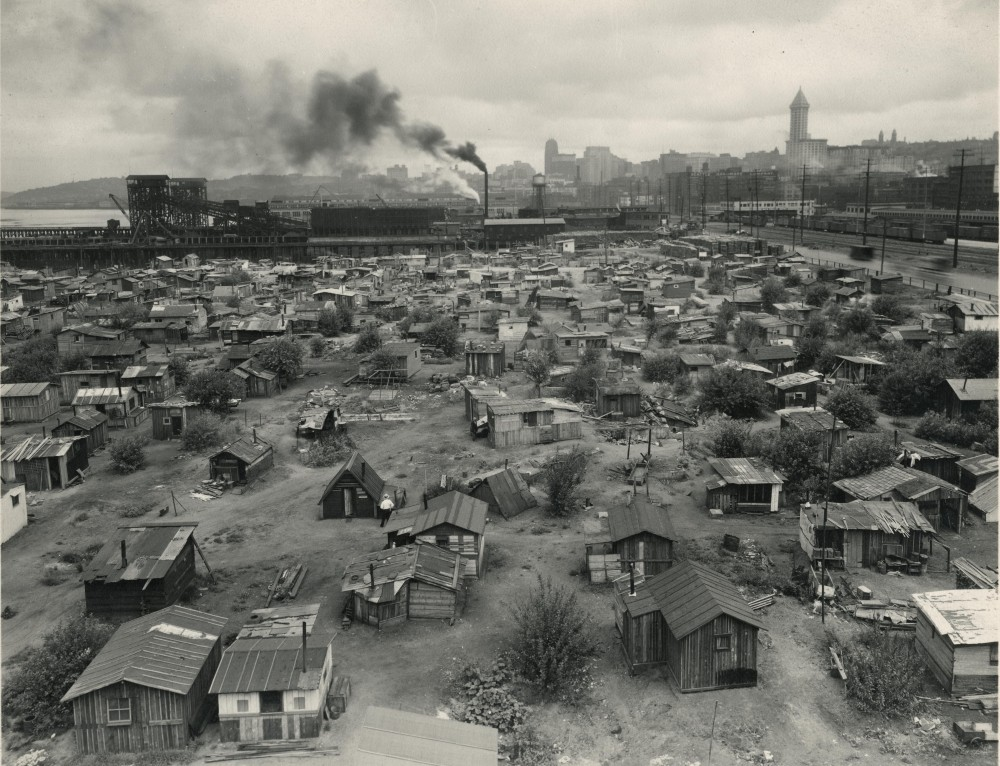 """Hooverville, Seattle."" 1932-1937. Washington State Archives. http://www.digitalarchives.wa.gov/Record/View/B7A94A0DC95F7B3E0F1081FDB3A72C1E"