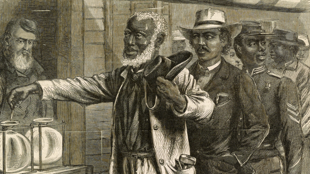 "With the passage of the Fifteenth Amendment, droves of African American men went to the polls to exercise their newly recognized right to vote. In this Harper's Weekly print, black men of various occupations wait patiently for their turn as the first voter submits his ballot. Unlike other contemporary images that depicted African Americans as ignorant, unkempt, and lazy, this print shows these black men as active citizens. Alfred R. Waud, ""The First Vote,"" November 1867. Library of Congress."