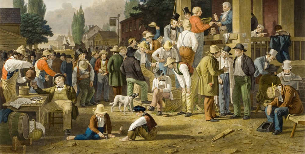 "George Caleb Bingham, ""The County Election,"" via Reynolda House Museum of American Art."