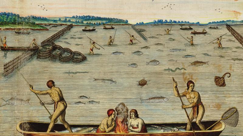 """Incolarum Virginiae piscandi ratio (The Method of Fishing of the Inhabitants of Virginia),"" c1590, via the Encyclopedia Virginia"