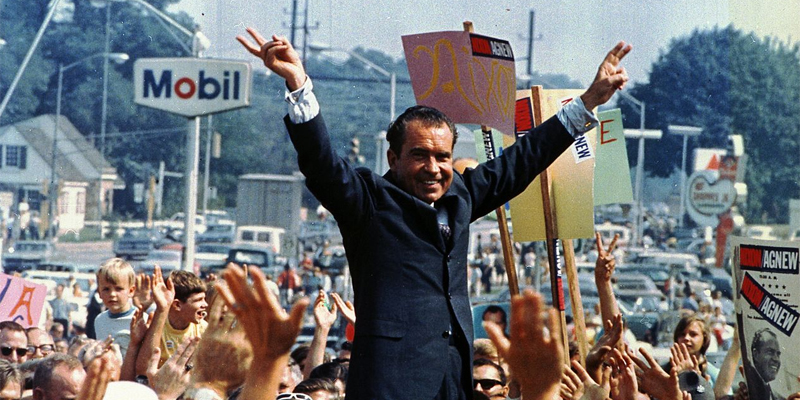 Photograph of Richard Nixon campaigning in Philadelphia during the 1968 presidential election. National Archives via Wikimedia