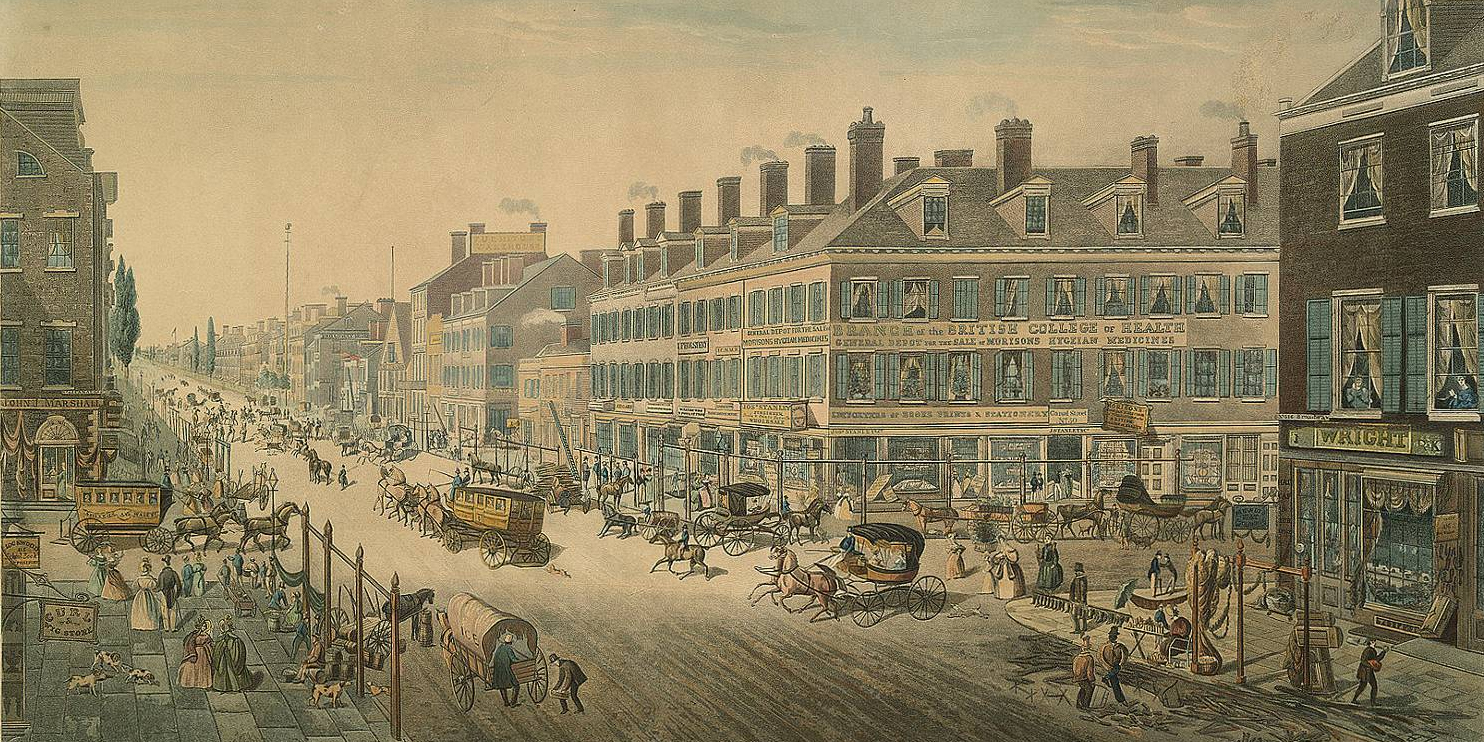 "Thomas Horner, ""Broadway, New York,"" 1836."