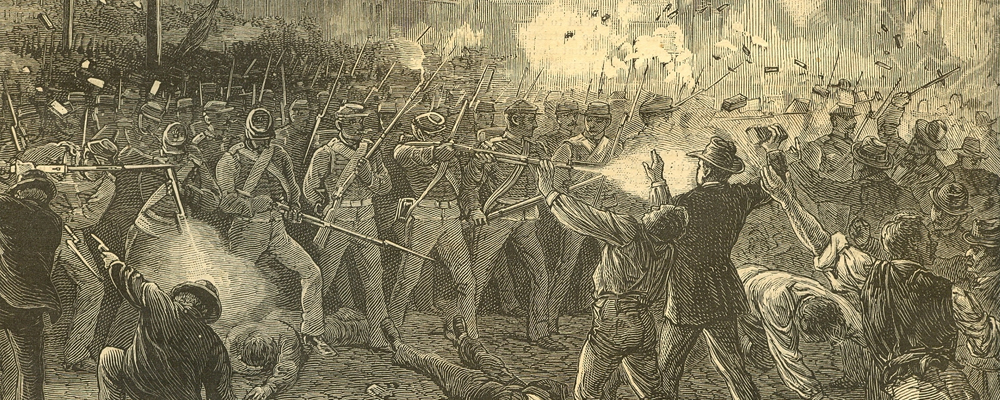 A Maryland National Guard unit fires upon strikers during the Great Railroad Strike of 1877. Harper's Weekly, via Wikimedia