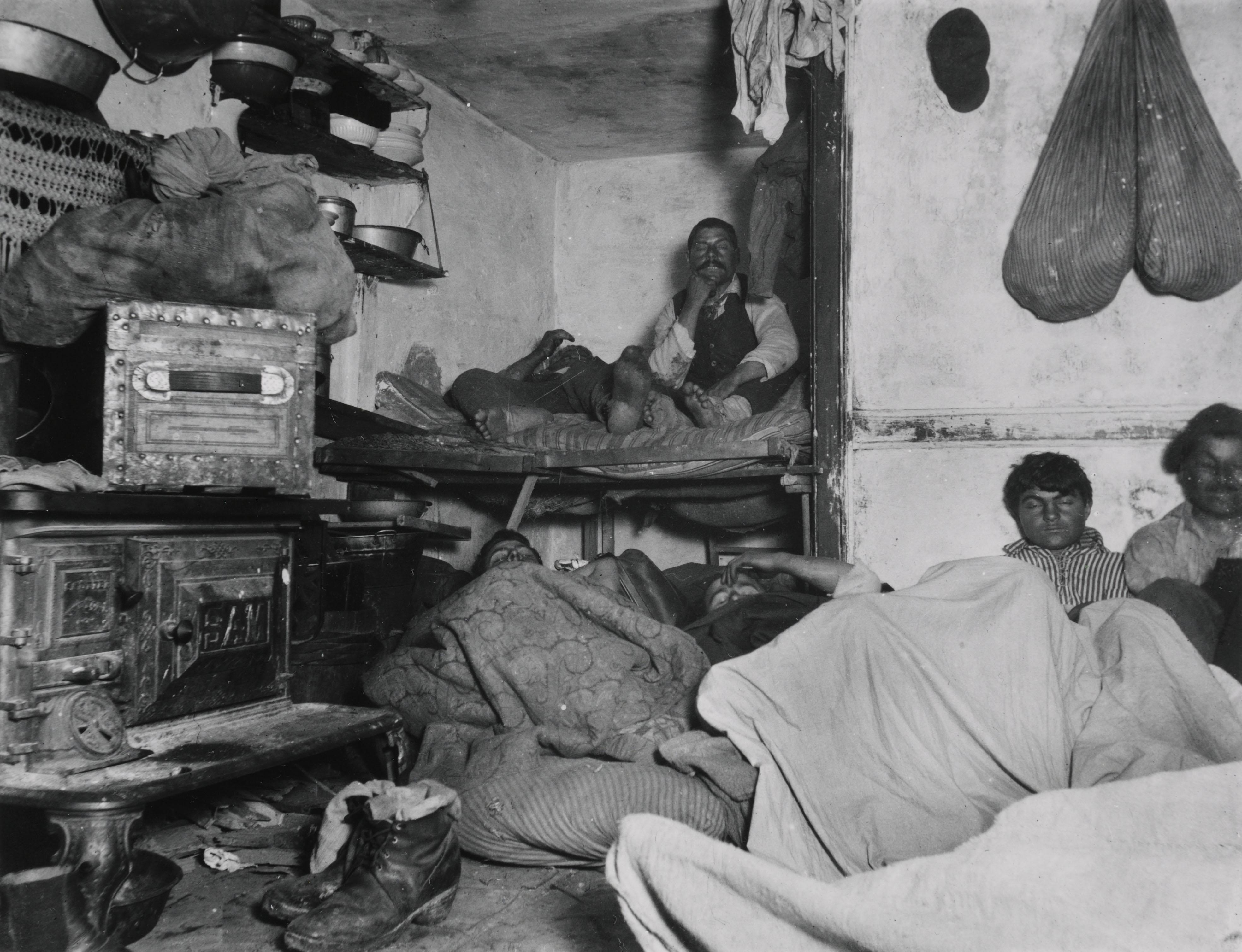 """Five Cent a Spot"" Unauthorized Lodgings in a Bayard Street Tenement. Via Preus Museum"