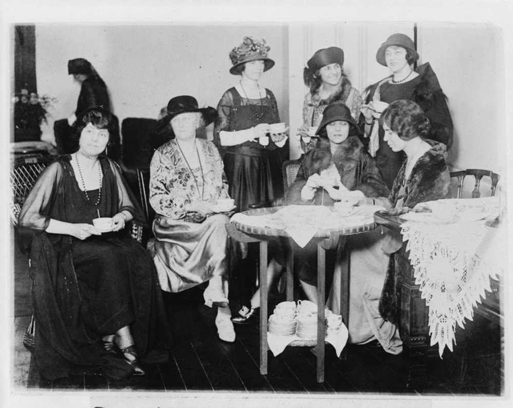 "During the 1920s, the National Women's Party fought for the rights of women beyond that of suffrage, which they had secured through the 19th Amendment in 1920. They organized private events, like the tea party pictured here, and public campaigning, such as the introduction of the Equal Rights Amendment to Congress, as they continued the struggle for equality. ""Reception tea at the National Womens [i.e., Woman's] Party to Alice Brady, famous film star and one of the organizers of the party,"" April 5, 1923. Library of Congress, http://www.loc.gov/pictures/item/91705244/."