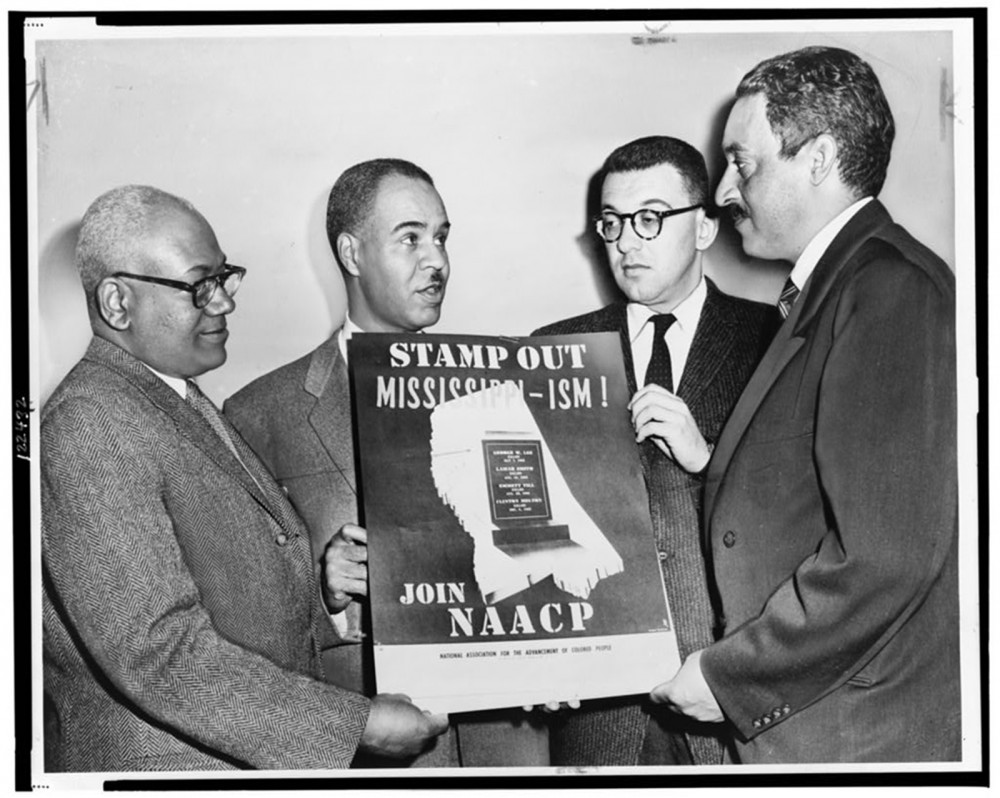 The NAACP was a central organization in the fight to end segregation, discrimination, and injustice based on race. NAACP leaders, including Thurgood Marshall (who would become the first African American Supreme Court Justice), hold a poster decrying racial bias in Mississippi in 1956. Photograph, 1956. Library of Congress, http://www.loc.gov/pictures/item/99401448/.
