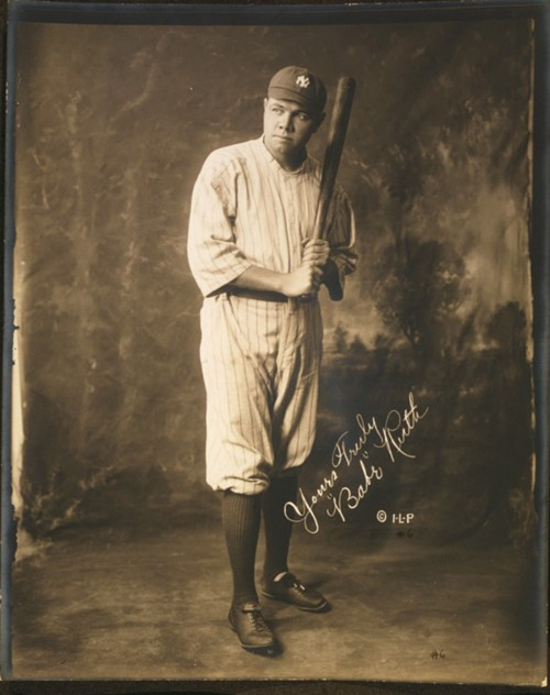 "Babe Ruth's incredible talent attracted widespread attention to the sport of baseball, helping it become America's favorite pastime. Ruth's propensity to shatter records with the swing of his bat made him a national hero during a period when defying conventions was the popular thing to do. ""[Babe Ruth, full-length portrait, standing, facing slightly left, in baseball uniform, holding baseball bat],"" c. 1920. Library of Congress, http://www.loc.gov/pictures/item/92507380/."