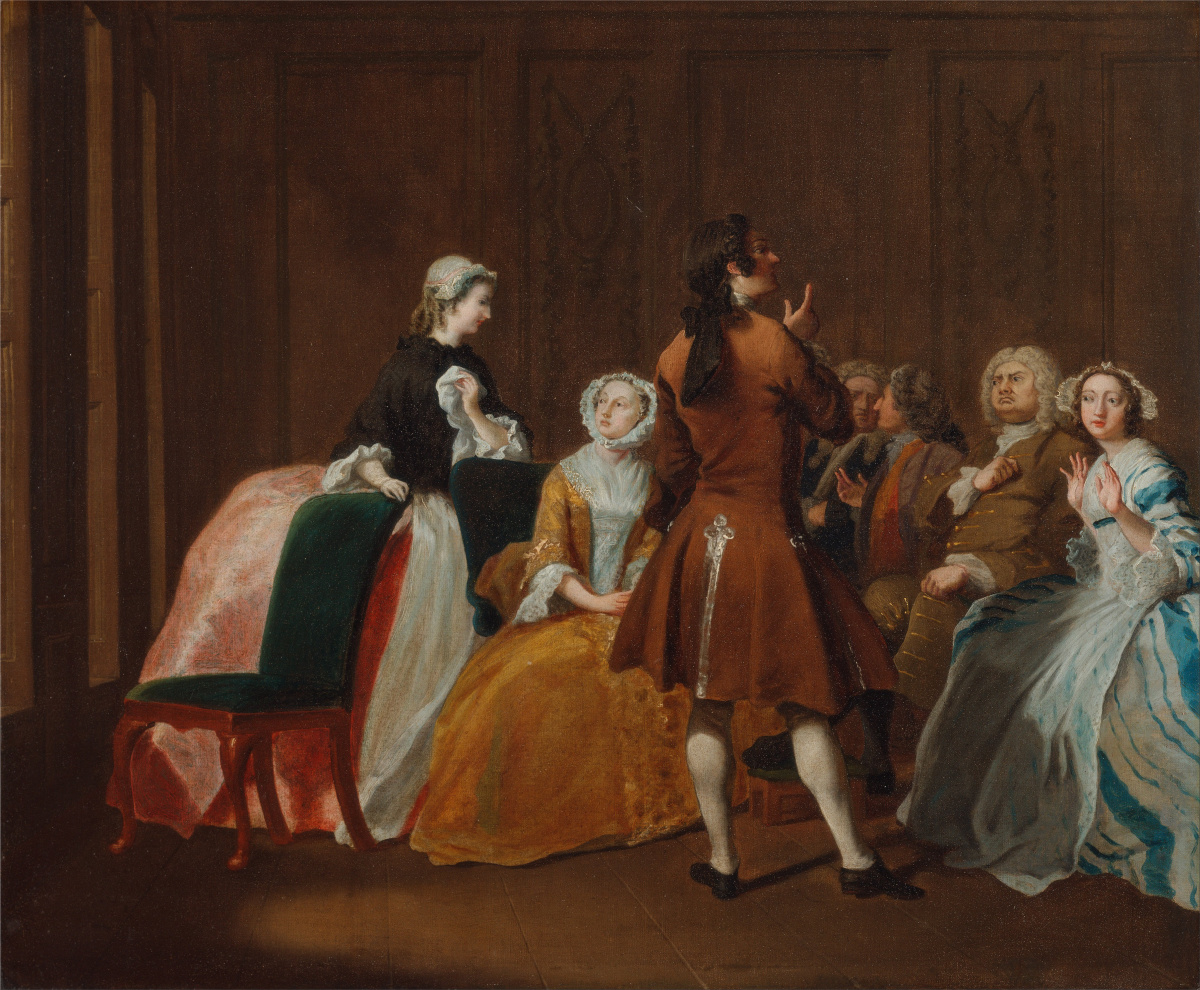 """Painting of well-dressed men and women in a ballroom. Joseph Highmore, The Harlowe Family, from Samuel Richardson's """"Clarissa,"""" 1745–1747. Wikimedia."""