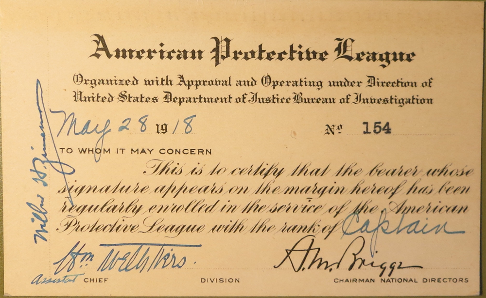The large numbers of German immigrants living throughout the United States created suspicion within the federal government. The American Protective League, a group of private citizens, worked directly with the U.S. government during WWI to identify suspected German sympathizers. Additionally, they sought to eradicate all radical, anarchical, left-wing, and anti-war activities through surveillance and raids. Even J. Edgar Hoover, the infamous head of the FBI, used the APL to gather intelligence. A membership card in the American Protective League, issued 28 May 1918. Wikimedia, http://commons.wikimedia.org/wiki/File:APL-Membership-Card.png.