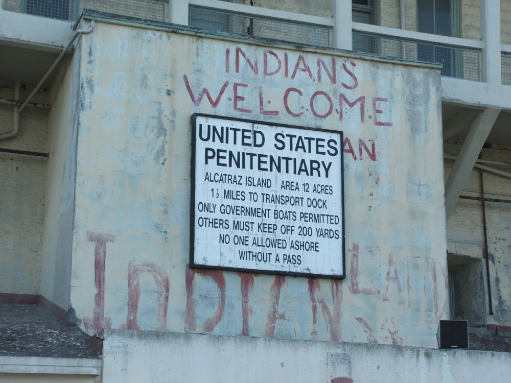 While the Pan-Indian movement of the 1960s failed, a sign remains of the Native American occupation of Alcatraz Island in the San Francisco Bay. Photograph, July 18, 2006. Wikimedia, http://commons.wikimedia.org/wiki/File:Alcatraz_Island_01_Prison_sign.jpg.