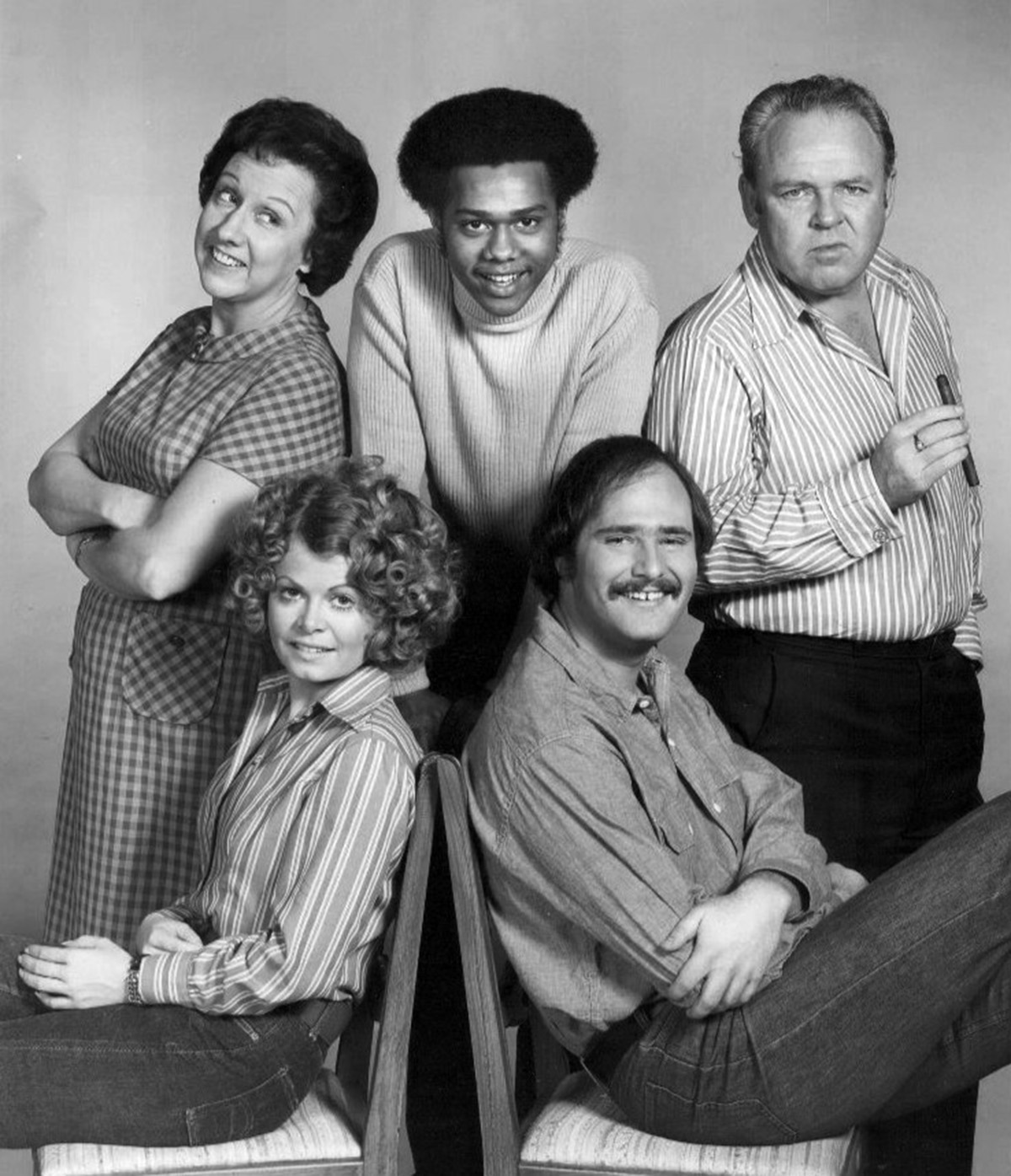 Photograph of the interracial cast of the CBS television show All in the Family.