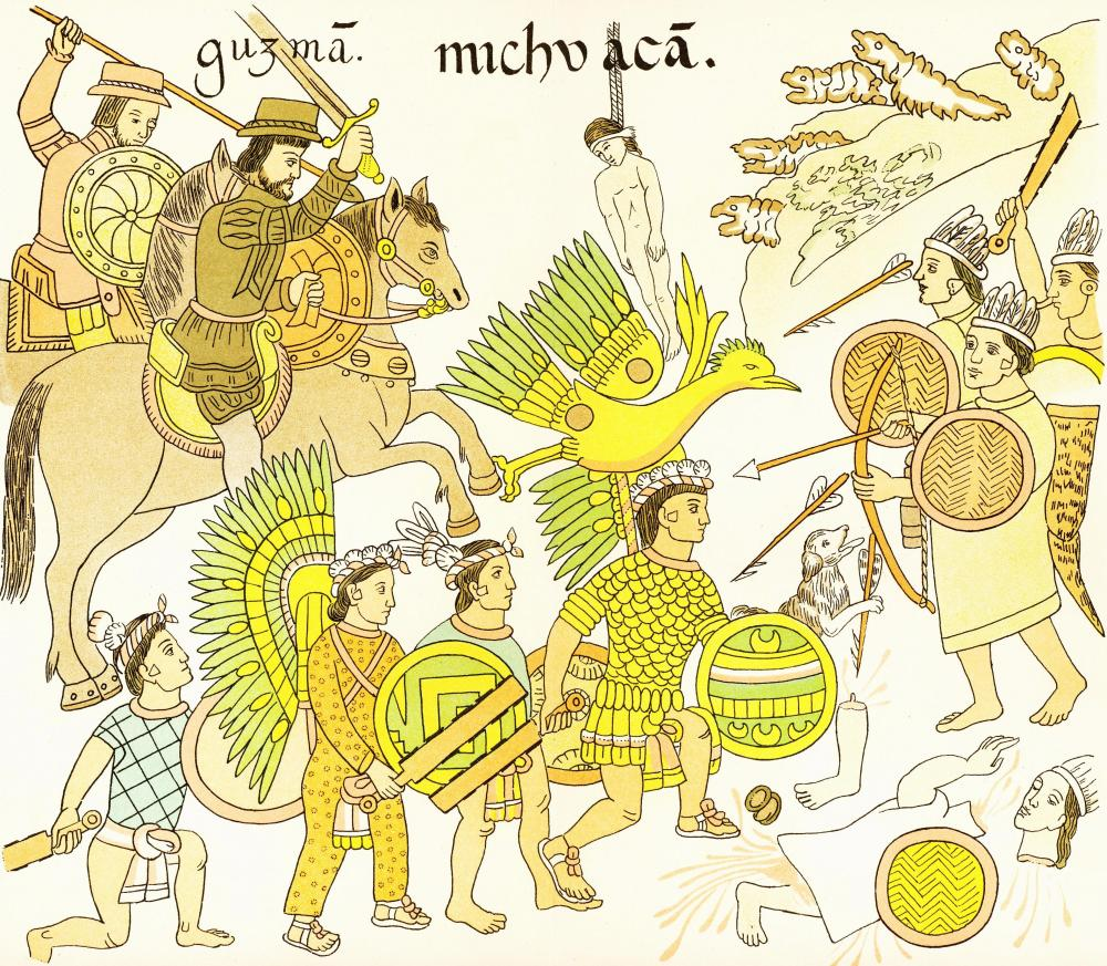 The Spanish relied on indigenous allies to defeat the Aztecs. The Tlaxcala were among the most important Spanish allies in their conquest. This nineteenth-century recreation of a sixteenth century drawing depicts Tlaxcalan warriors fighting alongside Spanish soldiers against the Aztec. Via Wikimedia.