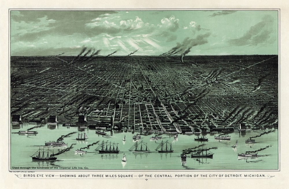 "Detroit, Michigan, began to prosper as an industrial city and major transportation hub by the mid to late nineteenth century. It would continue to grow throughout the early to mid-twentieth century as Henry Ford and others pioneered the automobile industry and made Detroit the automobile capital of the world – hence its nickname ""Motor City."" Calvert Lith. Co., ""Birds eye view--showing about three miles square--of the central portion of the city of Detroit, Michigan,"" 1889. Wikimedia, http://commons.wikimedia.org/wiki/File:Bird%27s_eye_view_of_Detroit,_Michigan,_1889_-_._Calvert_Lithographing_Co..jpg."