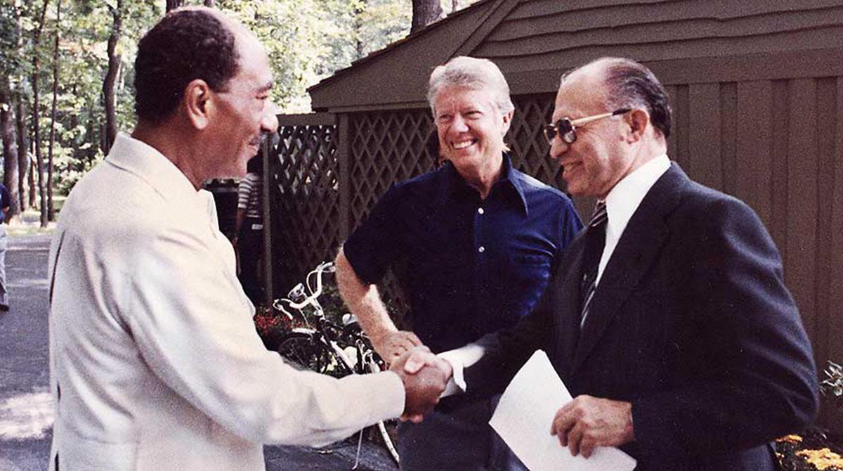 Camp David, Menachem Begin, and Anwar Sadat, 1978, Wikimedia, http://commons.wikimedia.org/wiki/File:Camp_David,_Menachem_Begin,_Anwar_Sadat,_1978.jpg.