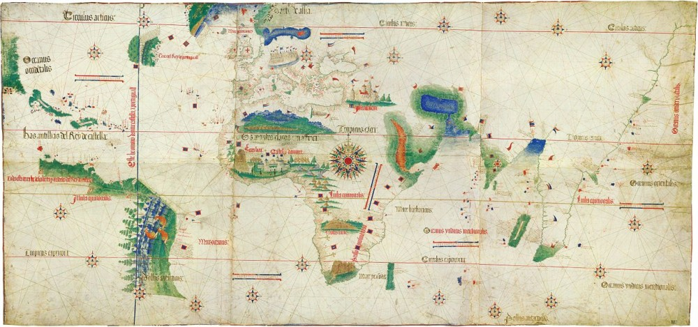 "By the fifteenth century, the Portuguese had established forts and colonies on islands and along the rim of the Atlantic Ocean; other major Europeans countries soon followed in step. An anonymous cartographer created this map known as the Cantino Map, the earliest known map of European exploration in the New World, to depict these holdings and argue for the greatness of his native Portugal. ""Cantino planisphere"" (1502), Biblioteca Estense, Modena, Italy. Wikimedia, http://commons.wikimedia.org/wiki/File:Cantino_planisphere_%281502%29.jpg."