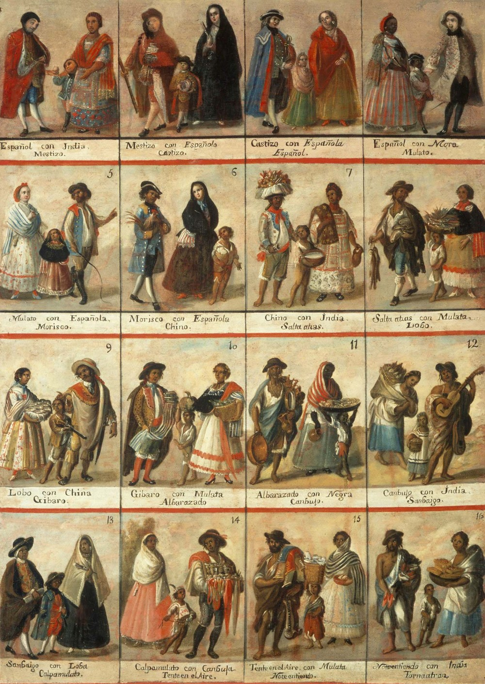 """Unknown artist, """"Las Castas,"""" Museo Nacional del Virreinato, Tepotzotlan, Mexico, via Wikimedia. Casta paintings illustrated the varying degrees of intermixture between colonial subjects, defining them for Spanish officials."""