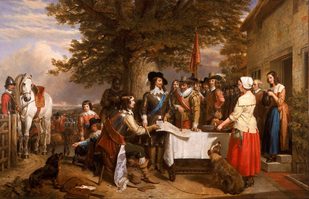 King Charles I, pictured with the blue sash of the Order of the Garter, listens to his commanders detail the strategy for what would be the first pitched battle of the First English Civil War. As all previous constitutional compromises between King Charles and Parliament had broken down, both sides raised large armies in the hopes of forcing the other side to concede their position. The Battle of Edgehill ended with no clear winner, leading to a prolonged war of over four years and an even longer series of wars (known generally as the English Civil War) that eventually established the Commonwealth of England in 1649. Charles Landseer, The Eve of the Battle of Edge Hill, 1642, 1845. Wikimedia, http://commons.wikimedia.org/wiki/File:Charles_Landseer_-_The_Eve_of_the_Battle_of_Edge_Hill,_1642_-_Google_Art_Project.jpg.