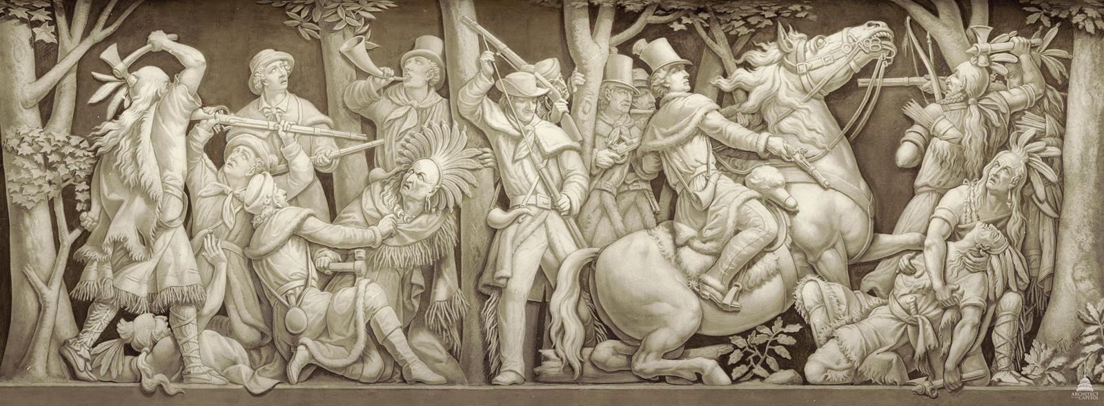 """Filippo Costaggini, """"Death of Tecumseh,"""" c1877, located in the Rotunda of the U.S. Capitol"""