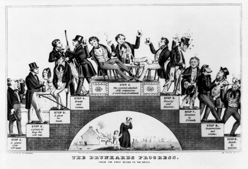 """Nathaniel Currier, """"The Drunkard's Progress."""" Lithograph. circa 1846. The Library of Congress."""