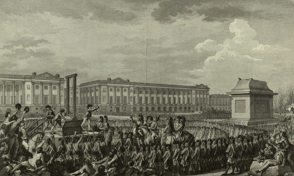 "The mounting body count of the French Revolution included that of the Queen and King, who were beheaded in a public ceremony in early 1793, as depicted in the engraving. While Americans disdained the concept of monarchy, the execution of King Louis XVI was regarded by many Americans as an abomination, an indication of the chaos and savagery reigning in France at the time. Charles Monnet (artist), Antoine-Jean Duclos and Isidore-Stanislas Helman (engravers), ""Day of 21 January 1793 the death of Louis Capet on the Place de la Révolution,"" 1794. Wikimedia, http://commons.wikimedia.org/wiki/File:Execution_of_Louis_XVI.jpg."
