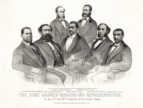"The era of Reconstruction witnessed a few moments of true progress. One of those was the election of African Americans to local, state, and national offices, including both houses of Congress. Pictured here are Hiram Revels (the first African American Senator) alongside six black representatives, all from the former Confederate states. Currier & Ives, ""First Colored Senator and Representatives in the 41st and 42nd Congress of the United States,"" 1872. Wikimedia, http://commons.wikimedia.org/wiki/File:First_colored_senator_and_reps.jpg."