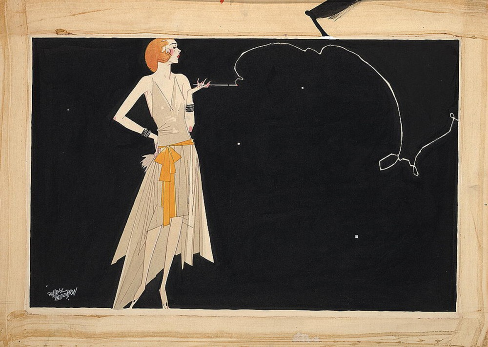 "The frivolity, decadence, and obliviousness of the 1920s was embodied in the image of the flapper, the stereotyped carefree and indulgent woman of the Roaring Twenties depicted by Russell Patterson's drawing. Russell Patterson, artist, ""Where there's smoke there's fire,"" c. 1920s. Library of Congress, http://www.loc.gov/pictures/item/2009616115/."