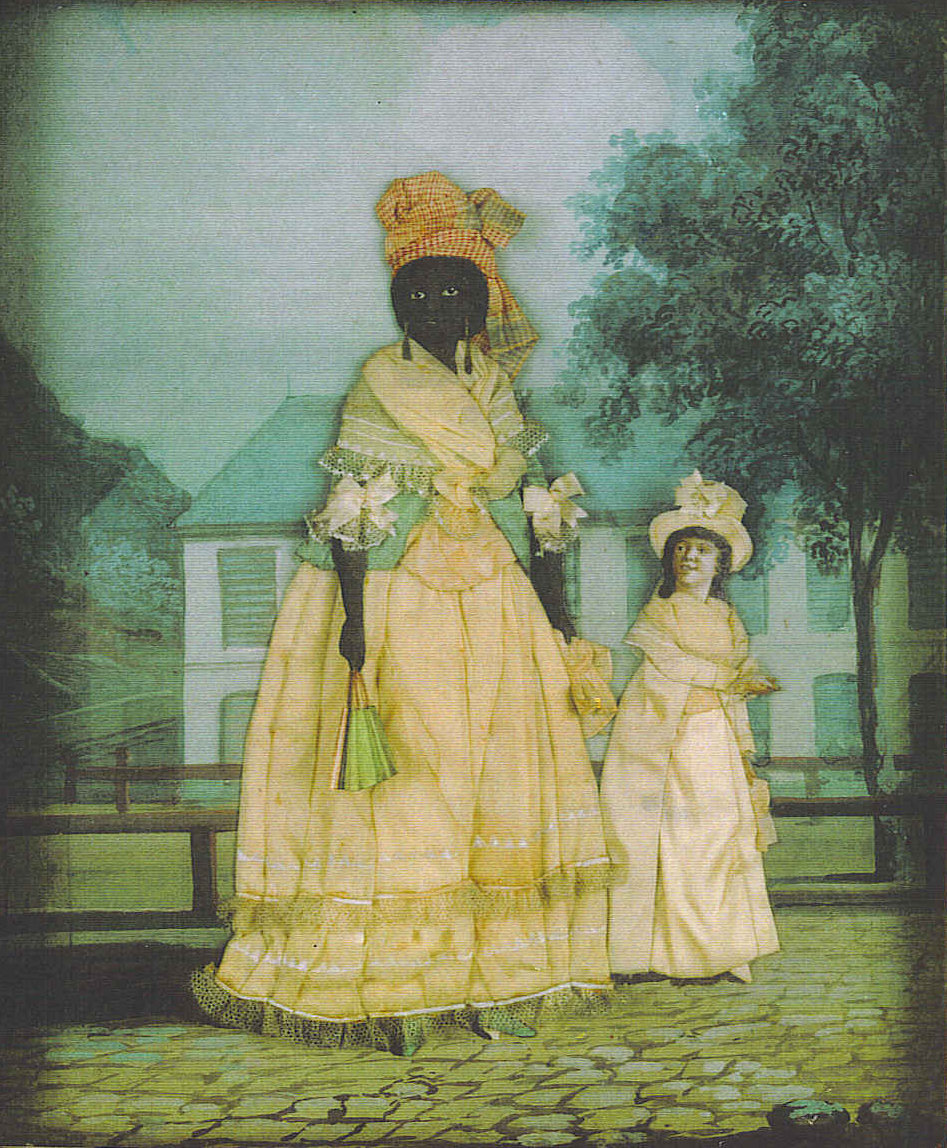 Free people of color were present throughout the American South, particularly in urban areas like Charleston and New Orleans. Some were relatively well off, like this femme de couleur libre posed with her mixed race child in front of her New Orleans home, maintaining a middling position between free whites and slaves. As the nineteenth century progressed, however, free people of color lost their status and any rights they had as slavery expanded and strengthened.  Free woman of color with quadroon daughter; late 18th century collage painting, New Orleans. Wikimedia, http://commons.wikimedia.org/wiki/File:Free_Woman_of_Color_with_daughter_NOLA_Collage.jpg.