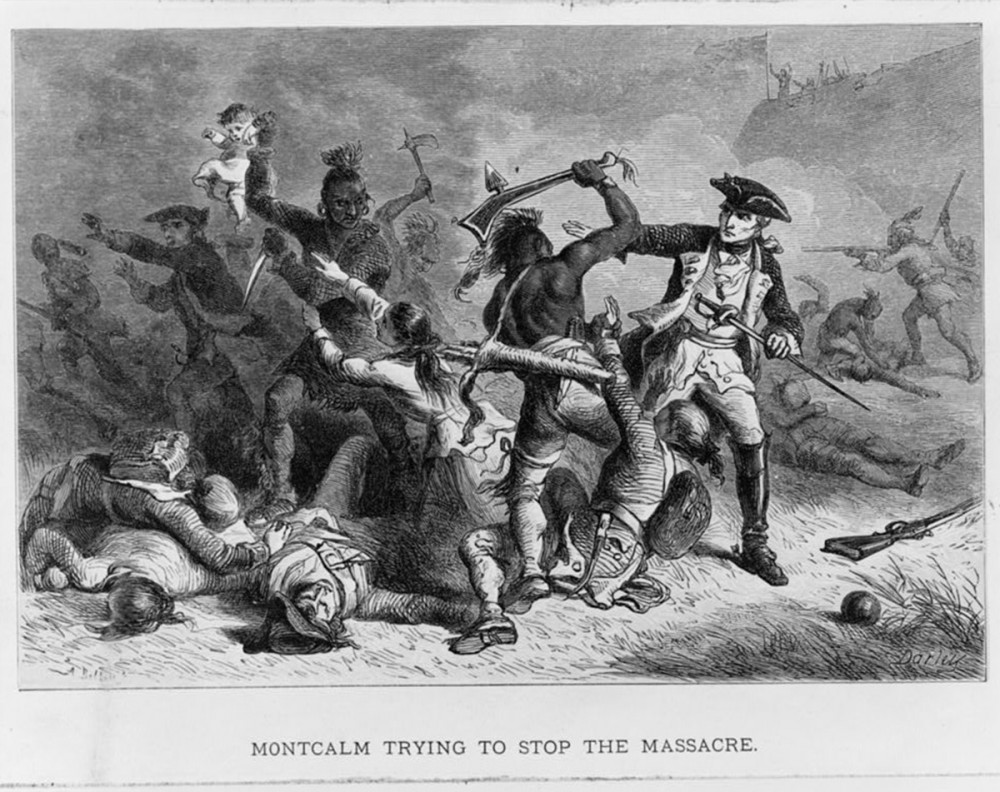 "Albert Bobbett, engraver, ""Montcalm trying to stop the massacre,"" c. 1870-1880. Library of Congress, http://www.loc.gov/pictures/item/98505902/."