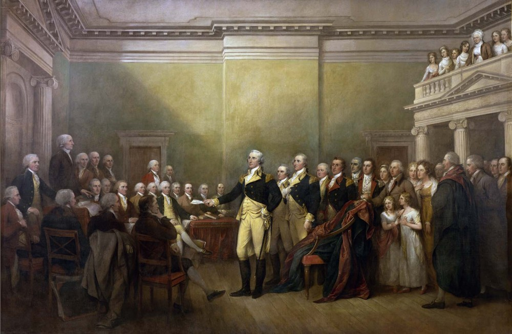 Another John Trumbull piece commissioned for the Capitol in 1817, this painting depicts what would be remembered as the moment the new United States became a republic. On December 23, 1783, George Washington, widely considered the hero of the Revolution, resigned his position as the most powerful man in the former thirteen colonies. Giving up his role as Commander-in-Chief of the Army insured that civilian rule would define the new nation, and that a republic would be set in place rather than a dictatorship. John Trumbull, General George Washington Resigning His Commission, c. 1817-1824. Wikimedia, http://commons.wikimedia.org/wiki/File:General_George_Washington_Resigning_his_Commission.jpg.