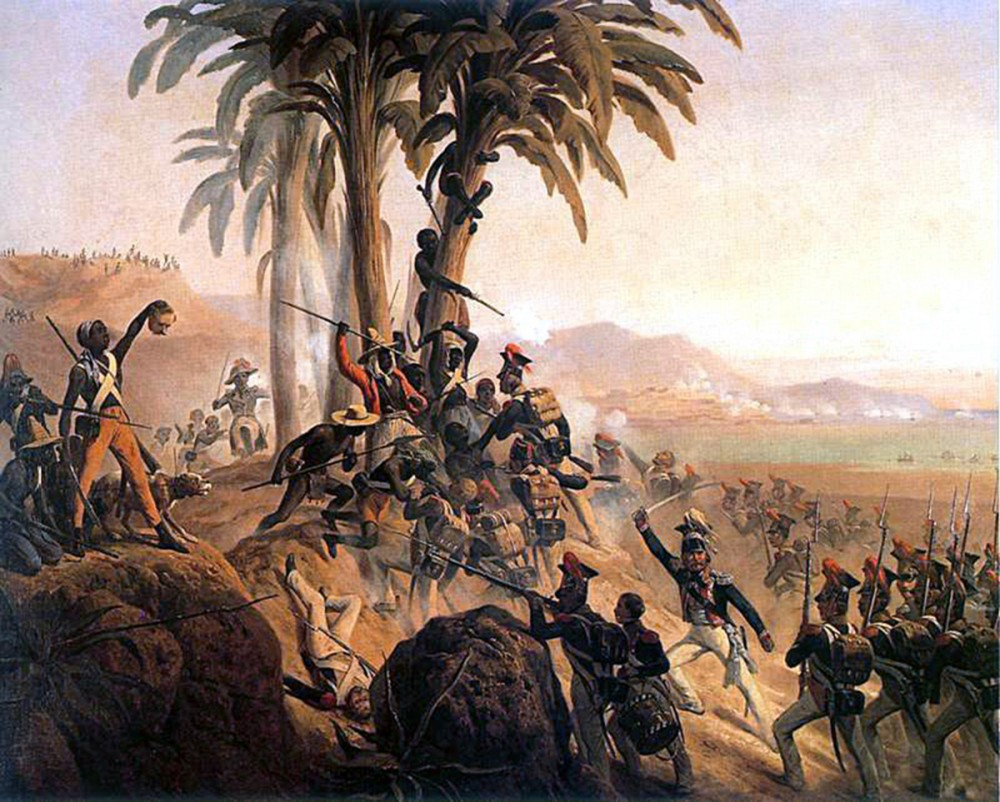 The idea and image of black Haitian revolutionaries sent shockwaves throughout white America. That black slaves and freed people might turn violent against whites, so obvious in this image where a black soldier holds up the head of a white soldier, remained a serious fear in the hearts and minds of white southerners throughout the antebellum period. January Suchodolski, Battle at San Domingo, 1845. Wikimedia, http://commons.wikimedia.org/wiki/File:San_Domingo.jpg.